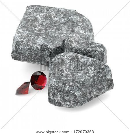 Brilliant diamonds and rocky boulders 3d illustration