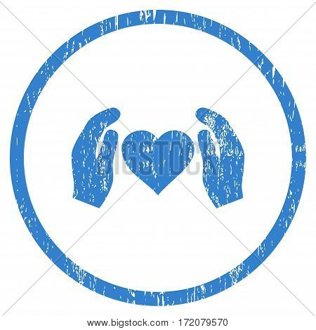Love Care Hands grainy textured icon for overlay watermark stamps. Rounded flat vector symbol with dust texture. Circled cobalt ink rubber seal stamp with grunge design on a white background.