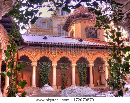 Old and spiritual architecture of Stavropoleos Orthodox church, known as the oldest Monastery in Bucharest, Romania