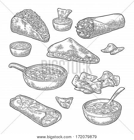 Mexican traditional food set with Guacamole Quesadilla Enchilada Avocado Burrito Tacos Nachos. Vector vintage black engraving illustration for menu poster web. Isolated on white background.