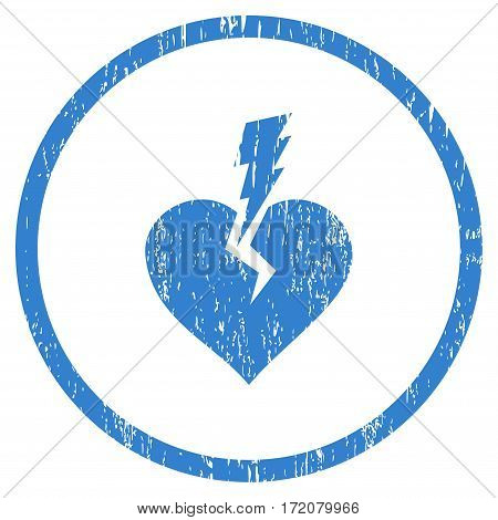 Love Heart Crash grainy textured icon for overlay watermark stamps. Rounded flat vector symbol with dirty texture. Circled cobalt ink rubber seal stamp with grunge design on a white background.