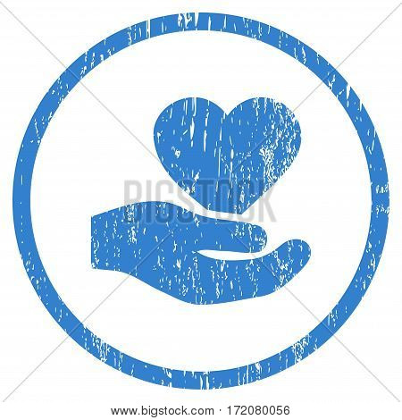 Love Heart Offer Hand grainy textured icon for overlay watermark stamps. Rounded flat vector symbol with dust texture. Circled cobalt ink rubber seal stamp with grunge design on a white background.