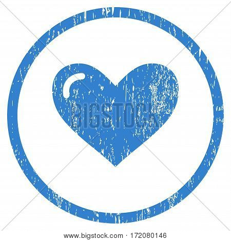 Love Heart grainy textured icon for overlay watermark stamps. Rounded flat vector symbol with dirty texture. Circled cobalt ink rubber seal stamp with grunge design on a white background.