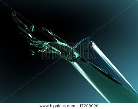 3D concept of liquid pouring out of glass test tube, isolated, on dark background