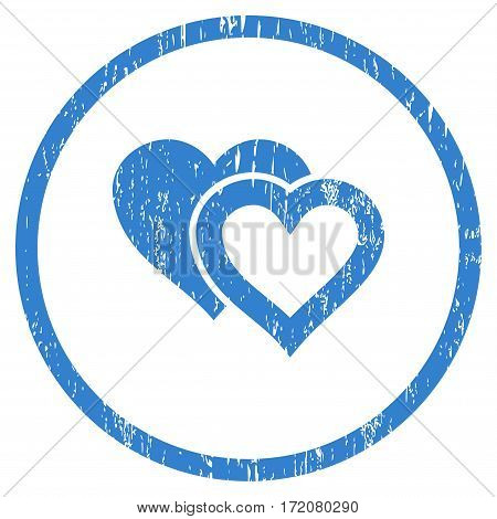 Love Hearts grainy textured icon for overlay watermark stamps. Rounded flat vector symbol with dust texture. Circled cobalt ink rubber seal stamp with grunge design on a white background.
