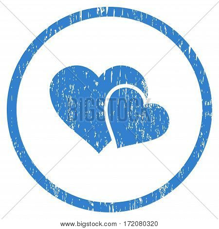 Love Hearts grainy textured icon for overlay watermark stamps. Rounded flat vector symbol with dirty texture. Circled cobalt ink rubber seal stamp with grunge design on a white background.
