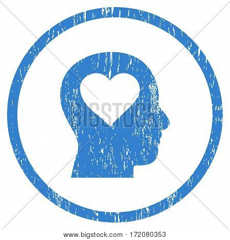 Love In Head grainy textured icon for overlay watermark stamps. Rounded flat vector symbol with scratched texture. Circled cobalt ink rubber seal stamp with grunge design on a white background.
