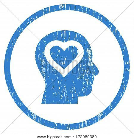 Love In Head grainy textured icon for overlay watermark stamps. Rounded flat vector symbol with unclean texture. Circled cobalt ink rubber seal stamp with grunge design on a white background.