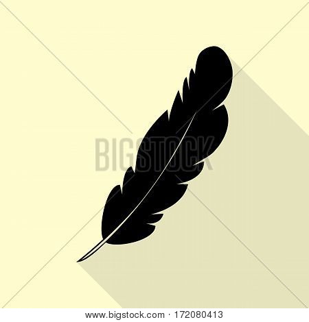 Feather sign illustration. Black icon with flat style shadow path on cream background.