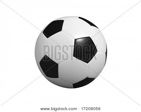 Soccer ball with path, isolated, on white background