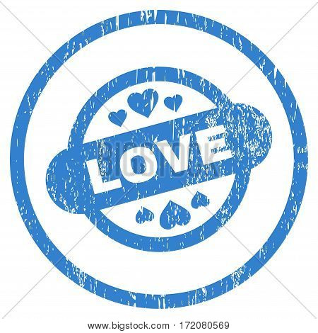 Love Stamp Seal grainy textured icon for overlay watermark stamps. Rounded flat vector symbol with scratched texture. Circled cobalt ink rubber seal stamp with grunge design on a white background.