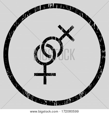Lesbian Love Symbol grainy textured icon for overlay watermark stamps. Rounded flat vector symbol with scratched texture.