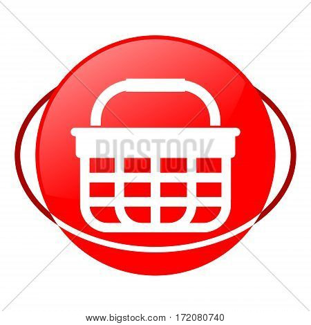 Red icon, shopping basket vector illustration on white background