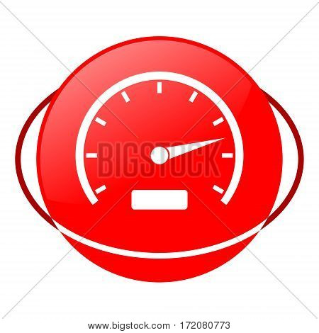 Red icon, speedometer vector illustration on white background