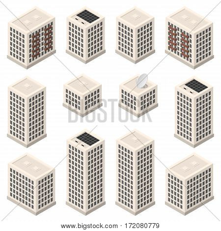 Set of isometric modern beige buildings with gray windows and solar battery. Isolated skyscrapers on white background
