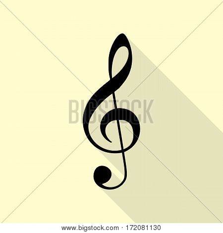 Music violin clef sign. G-clef. Treble clef. Flat style black icon on white.
