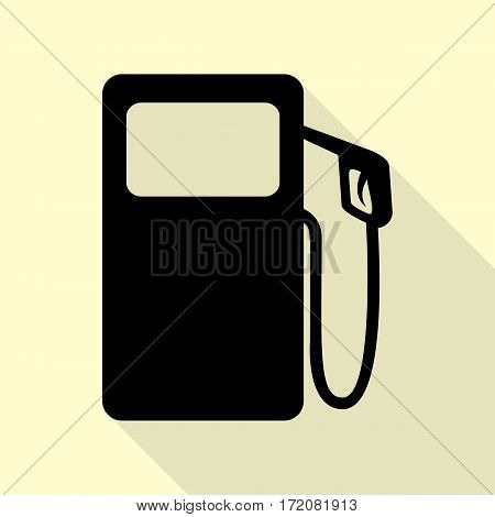 Gas pump sign. Black icon with flat style shadow path on cream background.