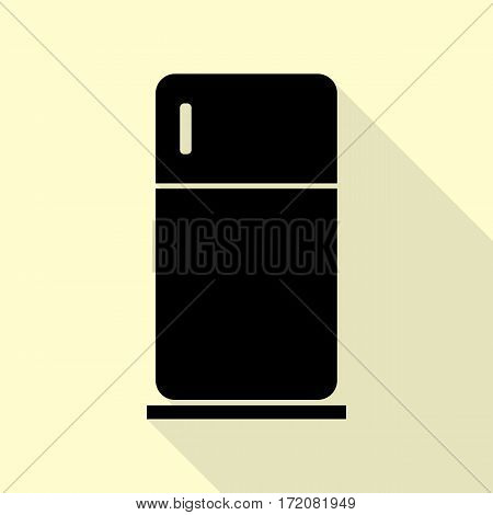 Refrigerator sign illustration. Black icon with flat style shadow path on cream background.