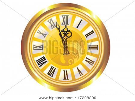Old clock on white, vector illustration