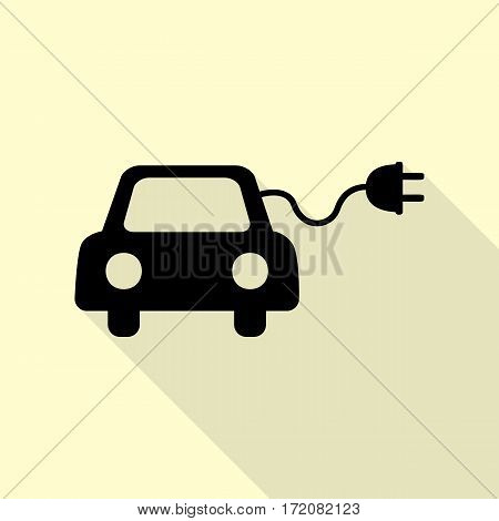 Eco electric car sign. Black icon with flat style shadow path on cream background.