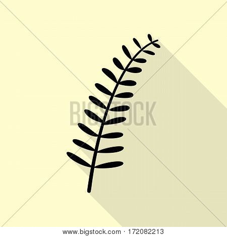 Olive twig sign. Black icon with flat style shadow path on cream background.