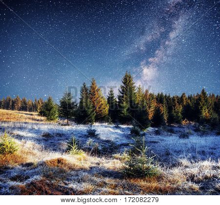 fantastic winter meteor shower and the snow-capped mountains.