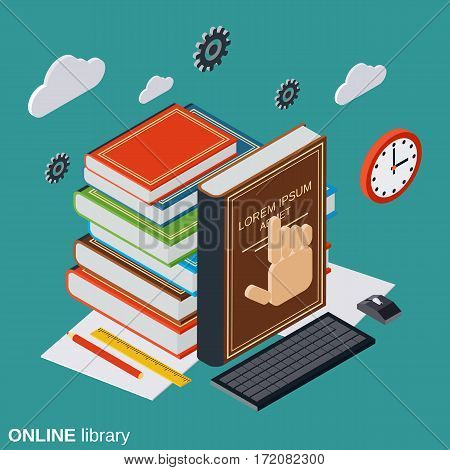 Online library, education, reading flat isometric vector concept