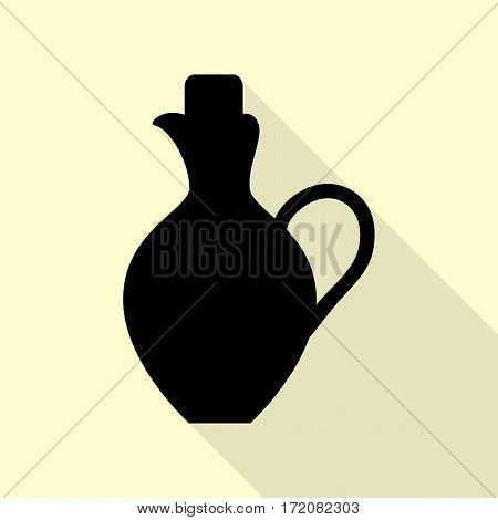 Amphora sign illustration. Black icon with flat style shadow path on cream background.