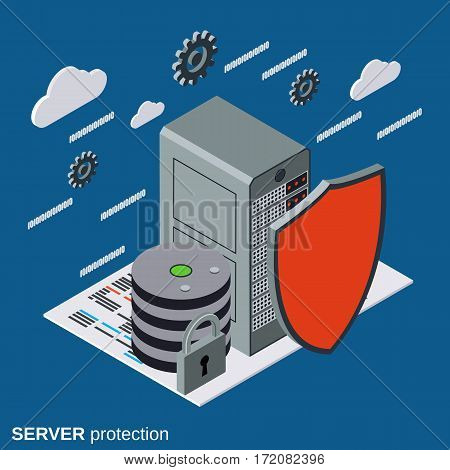 Server protection, network security flat isometric vector concept