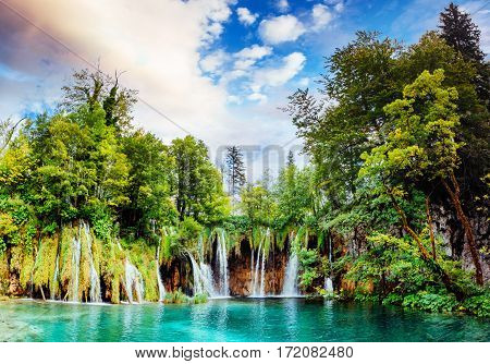 Breathtaking waterfalls panorama in Plitvice Lakes National Park, Croatia, Europe. Majestic view with turquoise water.