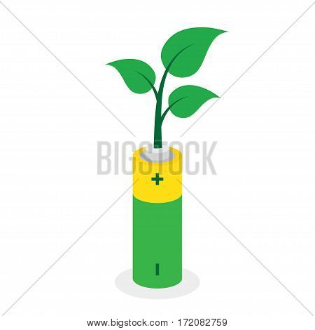 Eco friendly battery. Leaves growing from battery Vector illustration