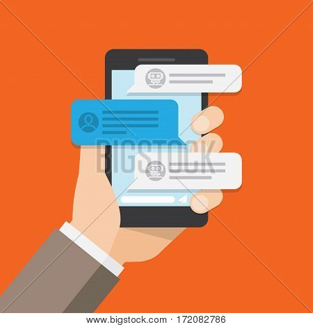 User chatting with chat bot in mobile phone. Text messages. Vector illustration