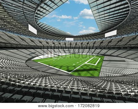 3D Render Of A Round Football Stadium With White Seats For Hundred Thousand People With Vip Boxes