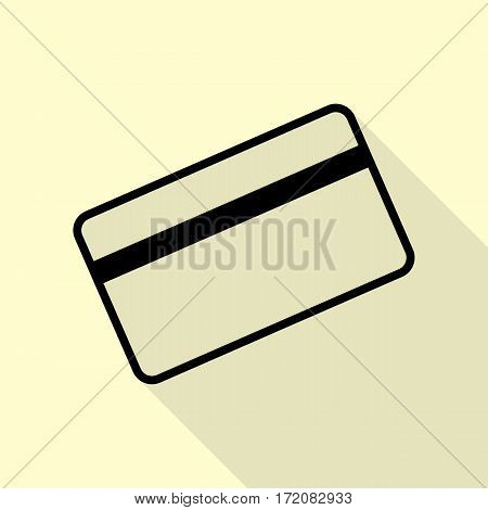 Credit card symbol for download. Black icon with flat style shadow path on cream background.