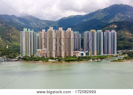 Yat Tung Estate, small village with high-rise apartments on Lantau Island north shore