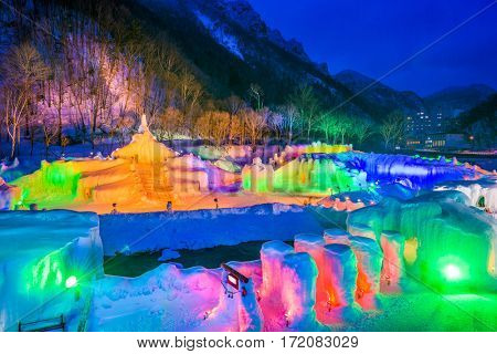 SOUNKYO, JAPAN - FEBRUARY 14, 2017: Illuminated ice sculptures at the annual Sounkyo Ice Fall Festival.
