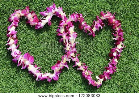 Hawaiian lei. two Hawaiian lei's on green grass in heart shaped designs.