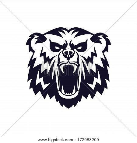 Bear Head Logo Mascot Emblem on shield. Talisman college sports teams, e-sport, school logo, tattoo, avatar, print t-shirt. The design of the character of a wild grizzly.  illustration.