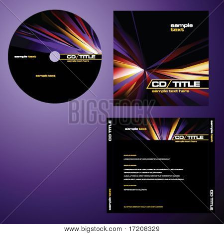 CD cover design with copy space, vector. Multicolor.