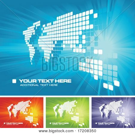 Vector world map background with copy space and color variations