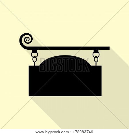Wrought iron sign for old-fashioned design. Black icon with flat style shadow path on cream background.