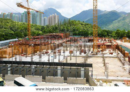 Construction works at Tung Chung area, north Lantau Island