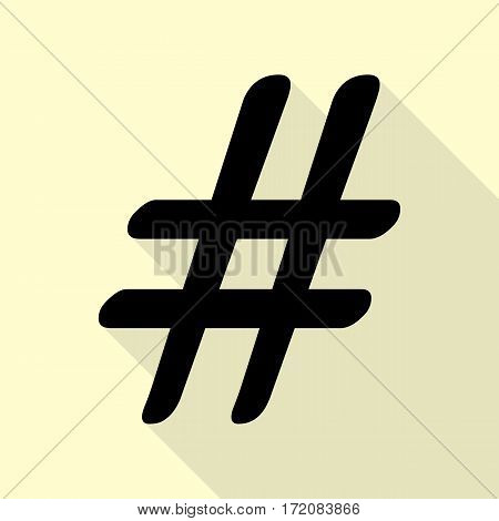 Hashtag sign illustration. Black icon with flat style shadow path on cream background.