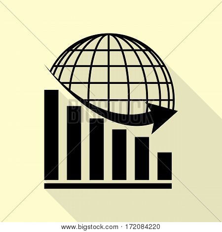 Declining graph with earth. Black icon with flat style shadow path on cream background.