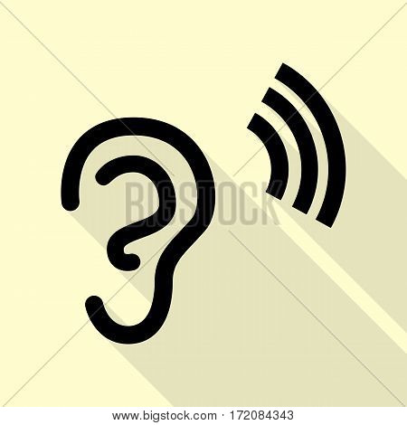 Human ear sign. Black icon with flat style shadow path on cream background.
