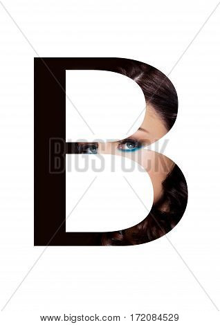 B letter beauty makeup girl creative fashion font on black
