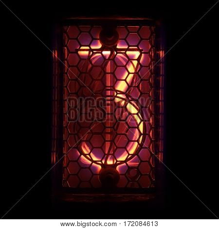 The real Nixie tube indicator of the numbers of retro style. Indicator glow with a magical purple fringing. Digit 3