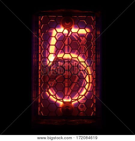 The real Nixie tube indicator of the numbers of retro style. Indicator glow with a magical purple fringing. Digit 5