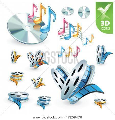 Multimedia vector 3D icon set
