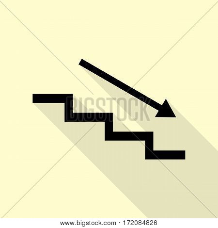 Stair down with arrow. Black icon with flat style shadow path on cream background.